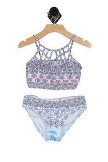 Criss Cross Multi Print Bikini (Big Kid)