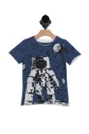 "front shows navy blue  short sleeve tee with ""One Small Skate for Man' concept moon and outer  space  design. True to size, layered hem detail, stretch."