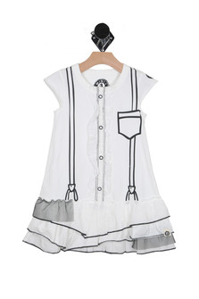 front show white suspenders dress with Cap sleeve, ruffle front detail, tiered bottom with mesh overlay detail, true to size, stretch.