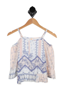 Paisley Cold Shoulder Top (Big Kid)