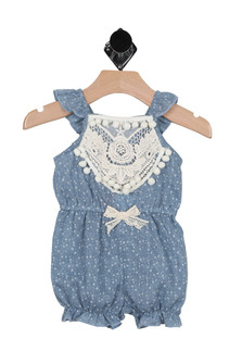 Floral Chambray PomPom Romper (Infant)