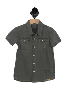 front shows washed army deep Slim fit button up tee with embroidery detail, snap buttons.
