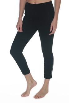 Cropped Cuffed Denim Leggings w/ Zippers