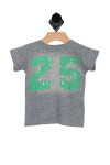 """back shows grey short sleeve tee with """"25"""" written at back in green. True to size, snap buttons on shoulder, raised fuzz decoration."""