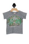 """front shows grey short sleeve tee with green design and """"United States of America"""" written at front. True to size, snap buttons on shoulder, raised fuzz decoration."""