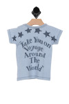 "back shows blue short sleeve tee. True to size, snap buttons on shoulder,  stars decoration and""take you on voyage around the world""  written at back."
