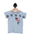 front shows blue short sleeve  tee. True to size, snap buttons on shoulder, raised flag and stars decoration.