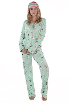 Yoga Dogs PJ Set with Sleep Mask