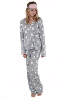Queen Cat PJ Set with Sleep Mask