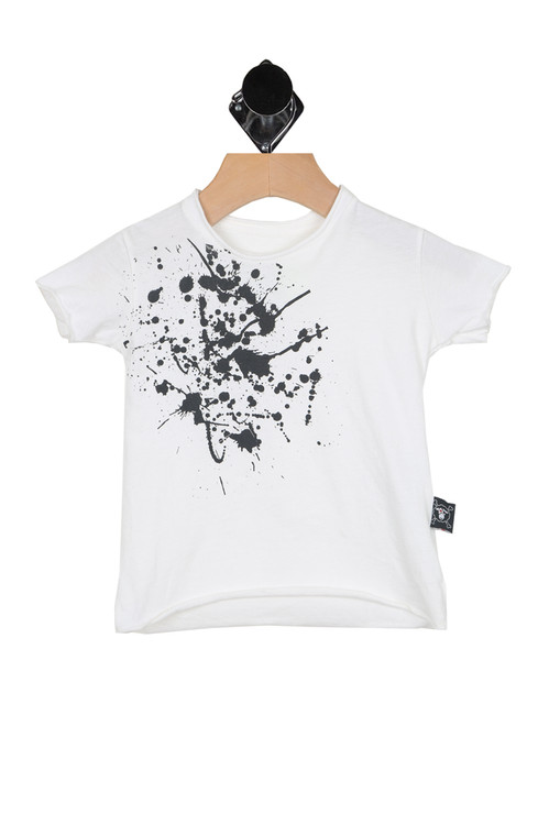 front shows white tee with black splat at top right. True to size, raw hem detail