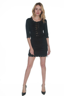 Studded 3/4 Sleeve Mini Dress