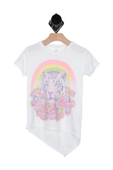 Flower Tiger High Low S/S Tee (Little Kid/Big Kid)
