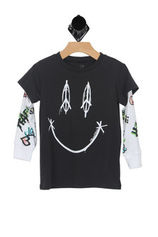 Peace & Happyness Layered Tee (Toddler/Little Kid/Big Kid)