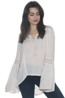 Crochet Trim Peasant Blouse