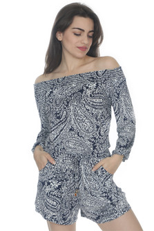 Printed Off The Shoulder L/S Romper