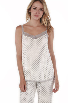 Vintage Dot PJ Cami with Lace Trim