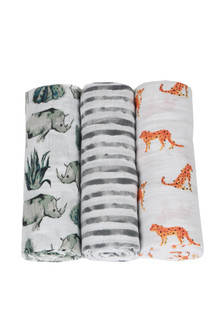 Serengetti Swaddle 3 Pack 1 swaddle white with Rhinos 1 swaddle grey and white strip 1 swaddle white with cheetahs For more detail call toll free 855-597-0313