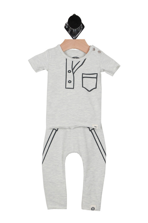 front shows grey two piece sweats out fit with black outlining.