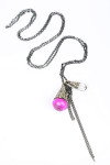 Silver chain necklace with two Silver teardrops one with Large pink stone the other with crystal for more detail contact toll free 855-597-0313