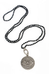 Black diamond chain necklace with white diamond evil eye pendant for more detail contact toll free 855-597-0313