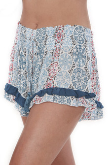 Ruffled Print Banded Shorts