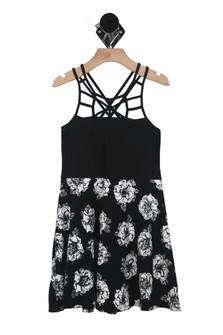 Floral Cut Out Dress (Big Kid)