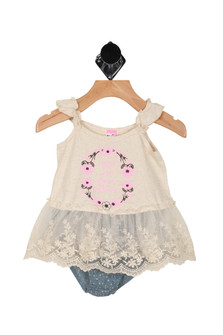 "Front shows two piece  set with oat meal colored thin ruffled sleeve top with the words  ""Let your dreams blossom"" written on front and blue and oat meal polka dot bloomers."