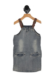 Leather Strap Overall Denim Dress (Little Kid)