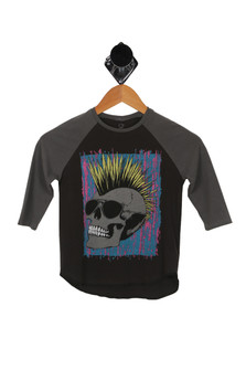 Punk Rock Skull Raglan 3/4 Tee (Big Kid)