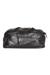 Front shows black Water Repellent Smooth Nylon duffle bag with top zipper, short straps and side zipper.