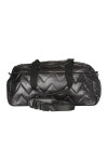 Front shows black water repellent smooth nylon duffle bag with top zipper, short straps, and  removable  long  straps.