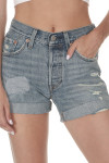Front shows light blue cuffed denim shorts with distressed style and two  pockets.