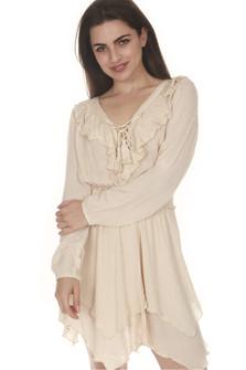 Lace Up Ruffle Mini Dress