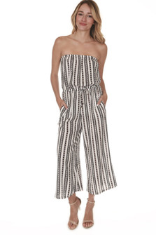 Strapless Striped Culotte Romper