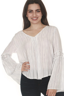 Rain Laced Bell Sleeve Blouse