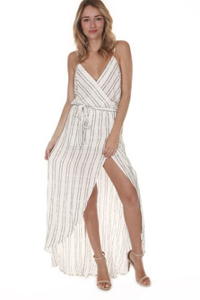 Striped Surplice Maxi