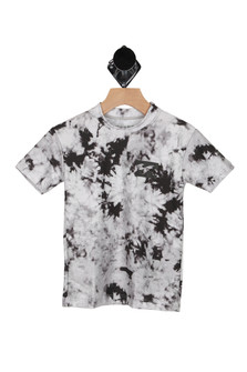 Front shows white and black splattered paint look short sleeved Rashguard  tee.