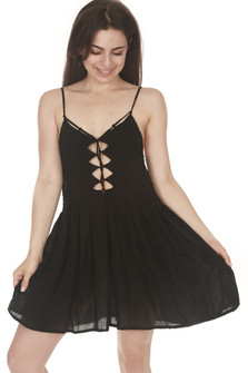Vivid Pleated Bodice Mini Dress