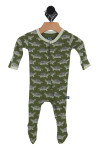 green footie onesie with light grey and green turtles all over