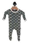 grey footie onesie with blue and white trouts all over