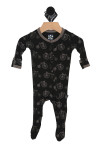 black footie onesie with vintage grey bicycle print