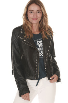 Studded Vegan Leather Moto Jacket Zippered Front Black