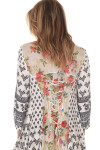 Contrasted floral print at back lace up back for tighter fit.