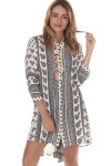 Spirit Button Up Shirt Dress Navy & White Paisley print at front 3/4 length sleeves
