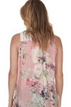Contrasting pink floral material at  back