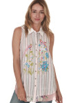 Reflections Button Up Tank Embroidered Birds at Front with Striped Pattern