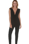 Deep V Pantsuit all black color tapered skinny legs deep v at front and back