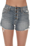 The Charlie High Waisted Denim Shorts distressed front unfinished hemline