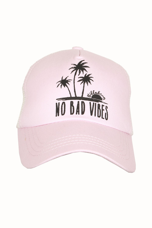 Sweet Dawn Pink Trucker Hat No Bad Vibes Graphic at front snap-back adjustable backing