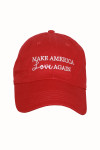 "Red Baseball Cap With ""Make America LOVE Again"" Slogan At Front w/ Adjustable Clip At Back For Larger Sizing 100% Cotton"